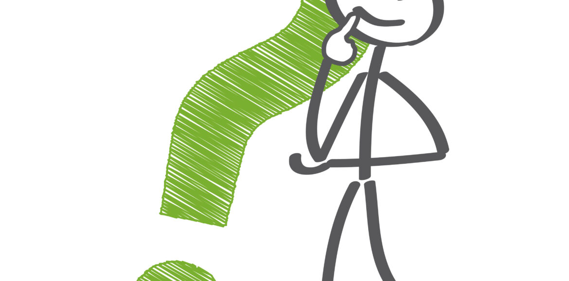 Stick figure holding up one hand to there mouth as they contemplate a large green question mark standing next to them